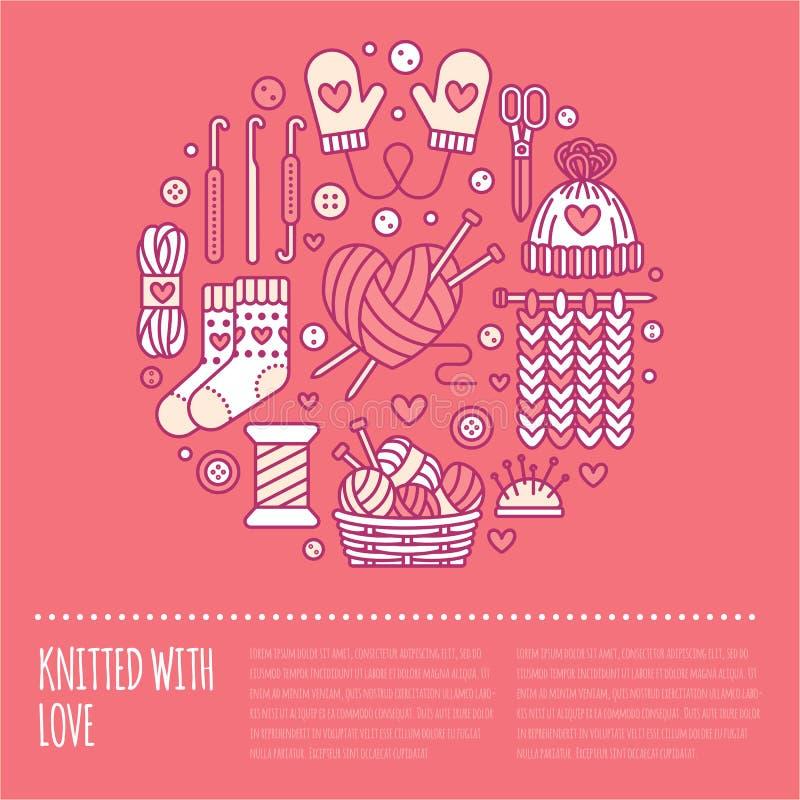 Πλέξιμο, τσιγγελάκι, χέρι - γίνοντη απεικόνιση εμβλημάτων Διανυσματική πλέκοντας βελόνα εικονιδίων γραμμών, γάντζος, μαντίλι, κάλ απεικόνιση αποθεμάτων