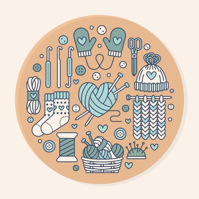 Πλέξιμο, τσιγγελάκι, χέρι - γίνοντη απεικόνιση εμβλημάτων Διανυσματική πλέκοντας βελόνα εικονιδίων γραμμών, γάντζος, μαντίλι, κάλ ελεύθερη απεικόνιση δικαιώματος