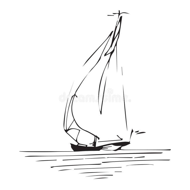 Πλέοντας σκάφος ή βάρκα στον ωκεανό στο ύφος γραμμών μελανιού Σκιαγραφημένο χέρι γιοτ Θαλάσσιο σχέδιο θέματος ελεύθερη απεικόνιση δικαιώματος