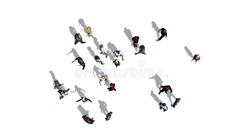 Πλήθος των ανθρώπων κατά την τοπ-άποψη σχετικά με το άσπρο υπόβαθρο στοκ φωτογραφίες