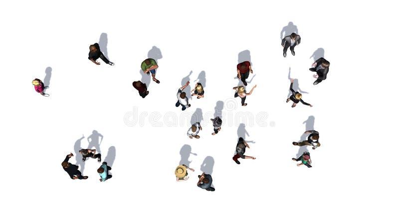 Πλήθος των ανθρώπων κατά την τοπ-άποψη σχετικά με το άσπρο υπόβαθρο στοκ εικόνα