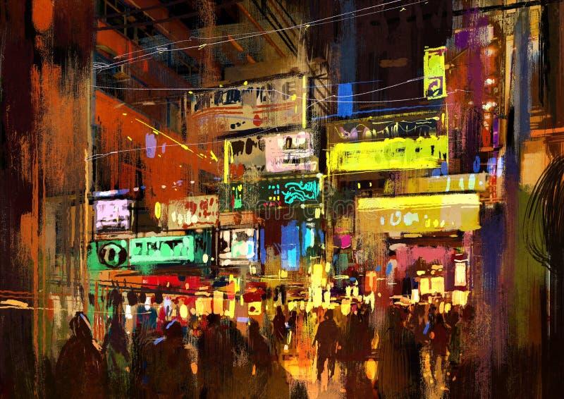 Πλήθος των ανθρώπων στην οδό νύχτας, ζωγραφική απεικόνιση αποθεμάτων