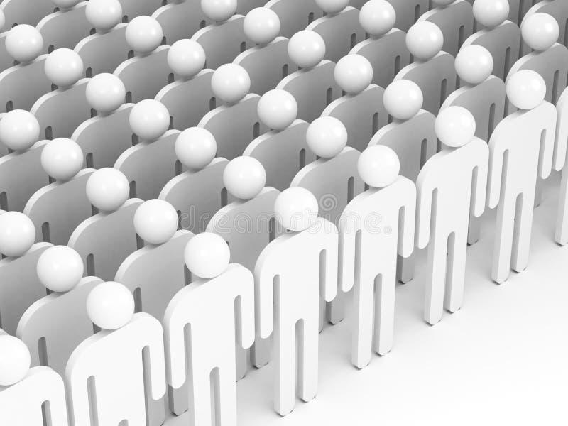 Πλήθος των αφηρημένων λευκών ανθρώπων. τρισδιάστατος δώστε ελεύθερη απεικόνιση δικαιώματος