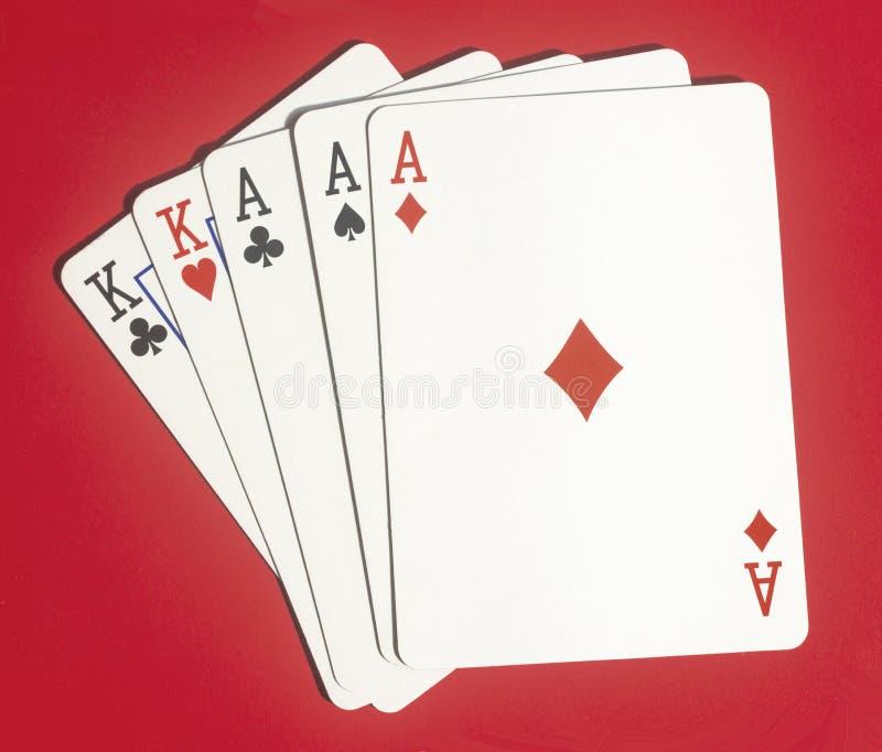 Πλήρεις κάρτες παιχνιδιού πόκερ σπιτιών στοκ εικόνες