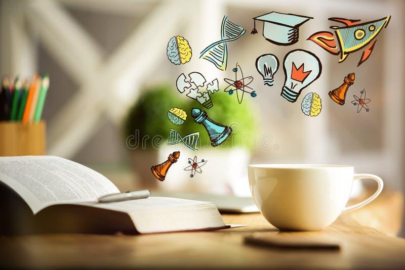 πλήρες απομονωμένο κεφάλι λευκό γνώσης έννοιας βιβλίων ανασκόπησης στοκ εικόνα