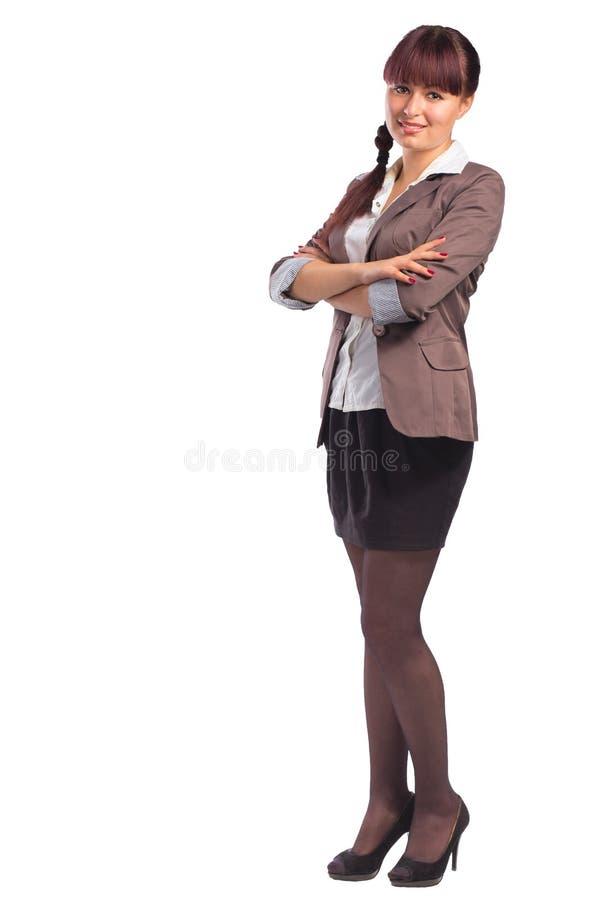 Πλήρες μήκος της ευτυχούς στάσης επιχειρησιακών γυναικών με τα όπλα που διπλώνονται στοκ φωτογραφία με δικαίωμα ελεύθερης χρήσης