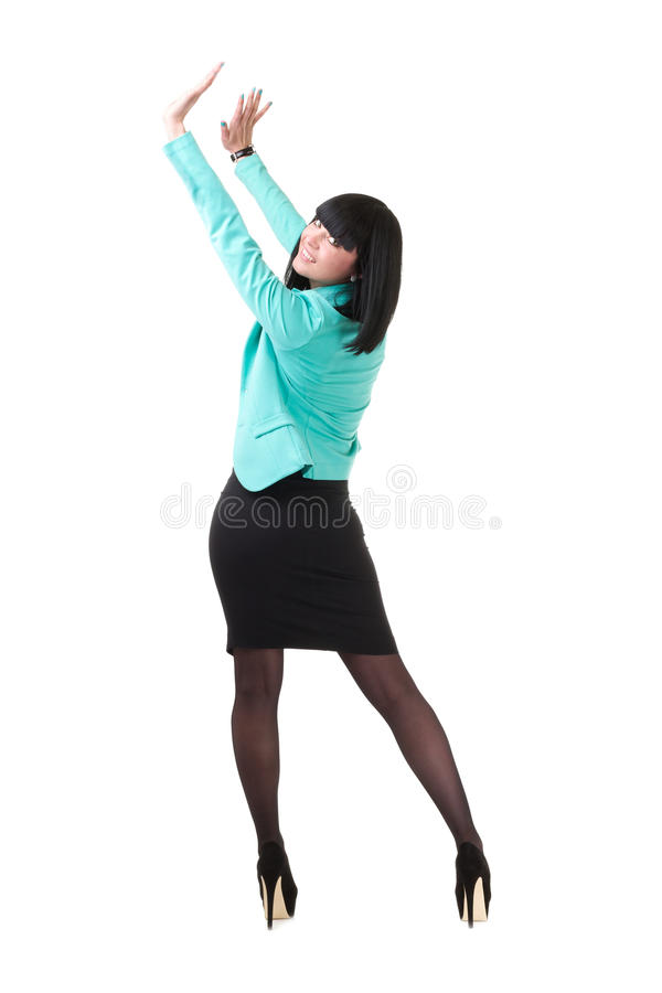 Πλήρες μήκος της όμορφης παρουσίασης επιχειρησιακών γυναικών στοκ εικόνα