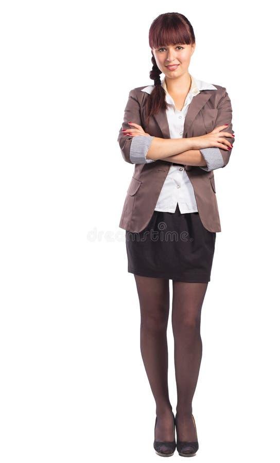 Πλήρες μήκος της όμορφης στάσης επιχειρησιακών γυναικών με τα όπλα folde στοκ φωτογραφίες με δικαίωμα ελεύθερης χρήσης