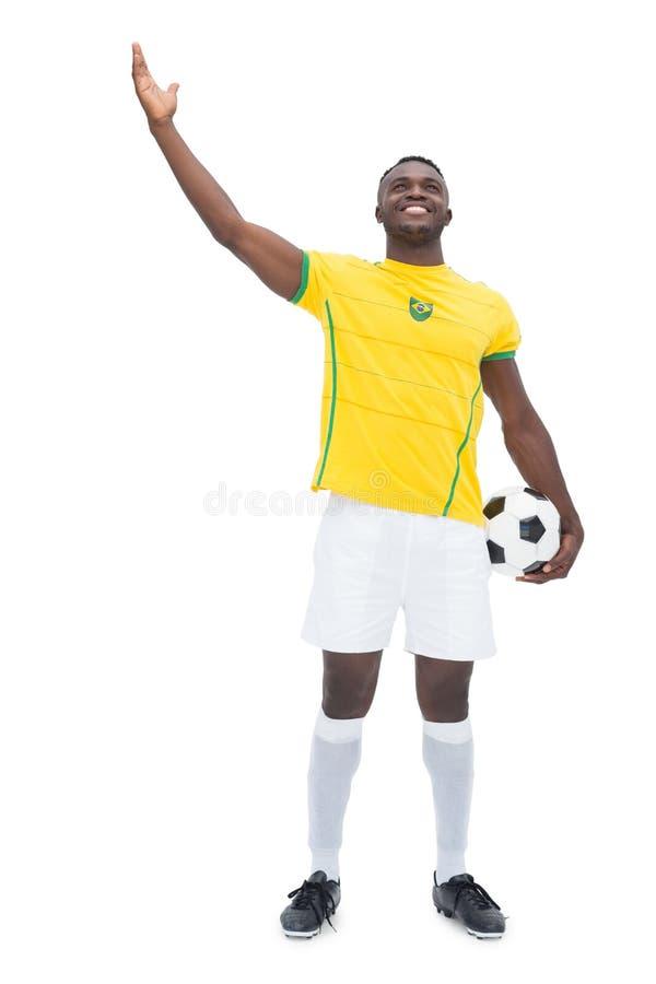 Πλήρες μήκος του βραζιλιάνου ποδοσφαιριστή στοκ εικόνες με δικαίωμα ελεύθερης χρήσης