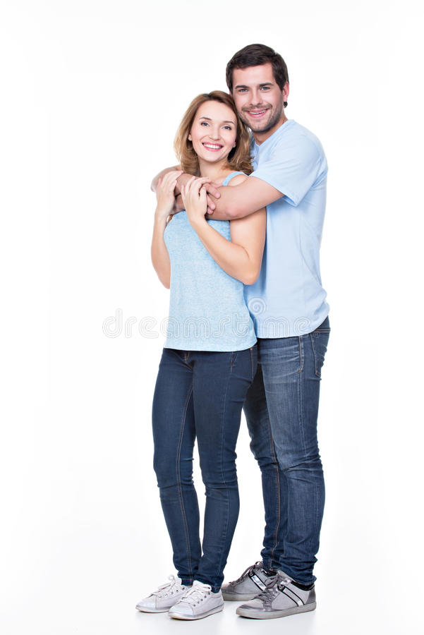 Πλήρες πορτρέτο του ευτυχούς ζεύγους. στοκ εικόνες