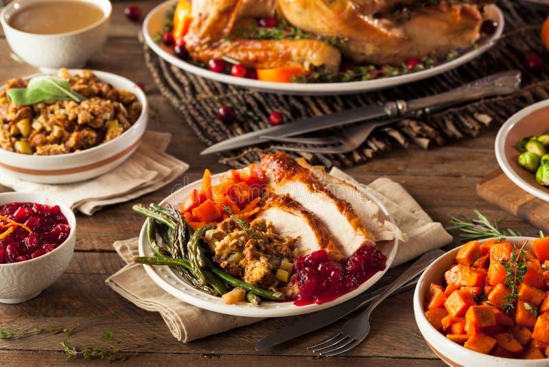 Πλήρες σπιτικό γεύμα ημέρας των ευχαριστιών στοκ φωτογραφίες