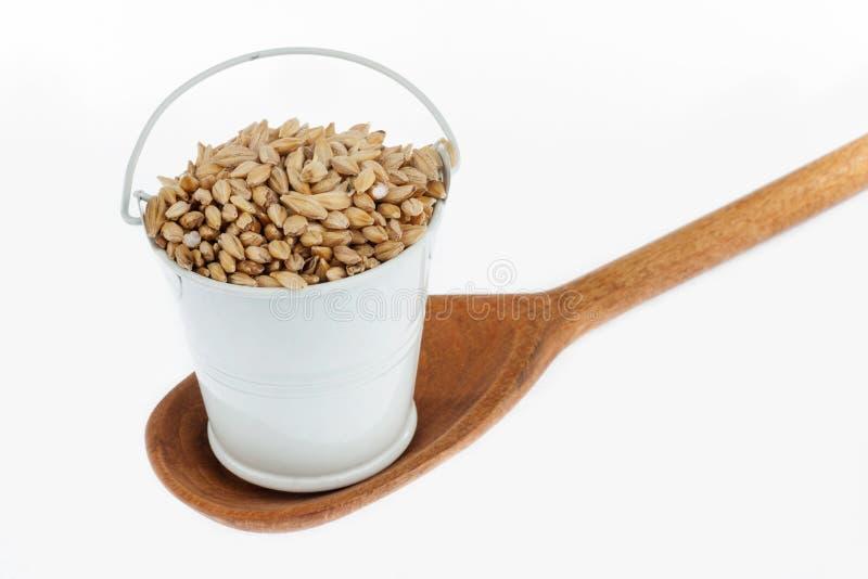 Πλήρης κάδος των στάσεων σιταριών κριθαριού σε ένα ξύλινο κουτάλι στοκ φωτογραφία με δικαίωμα ελεύθερης χρήσης