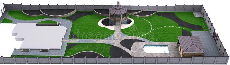 Πλήρης κήπος που εξωραΐζει το κύριο πρόγραμμα, τρισδιάστατη απεικόνιση ελεύθερη απεικόνιση δικαιώματος