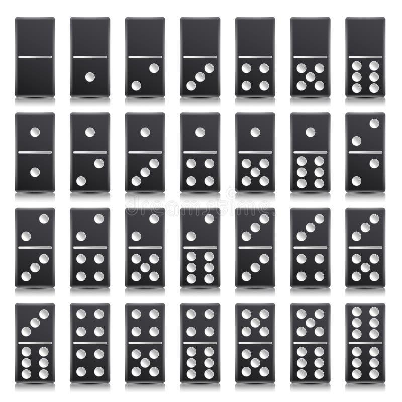 Πλήρης καθορισμένη διανυσματική ρεαλιστική απεικόνιση ντόμινο μαύρο χρώμα Κλασικά κόκκαλα ντόμινο παιχνιδιών στο λευκό Τοπ όψη ξέ απεικόνιση αποθεμάτων