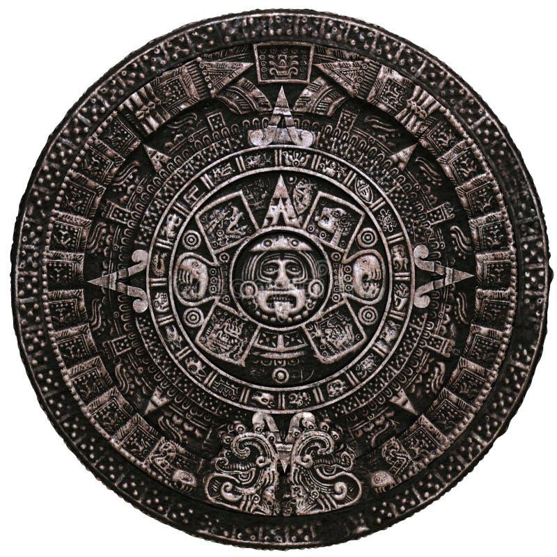 Πλήρης των Μάγια ημερολογιακή frnt άποψη πετρών στοκ εικόνες με δικαίωμα ελεύθερης χρήσης