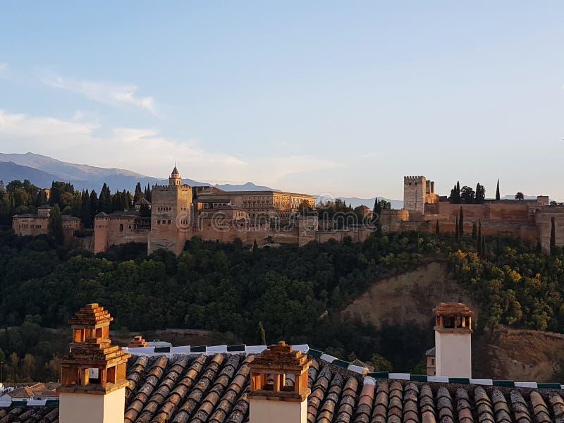 Πλήρης φωτογραφία Alhambra στη Γρανάδα στοκ εικόνα