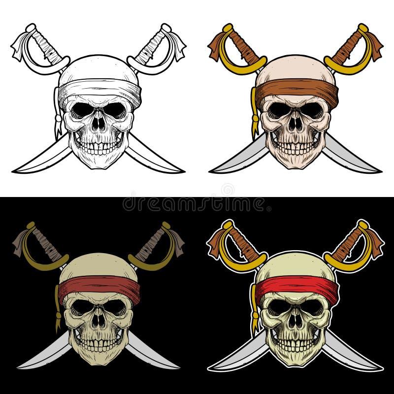 Πλήρωμα κρανίων ενός σκάφους πειρατών με το διασχισμένο ξίφος διανυσματική απεικόνιση