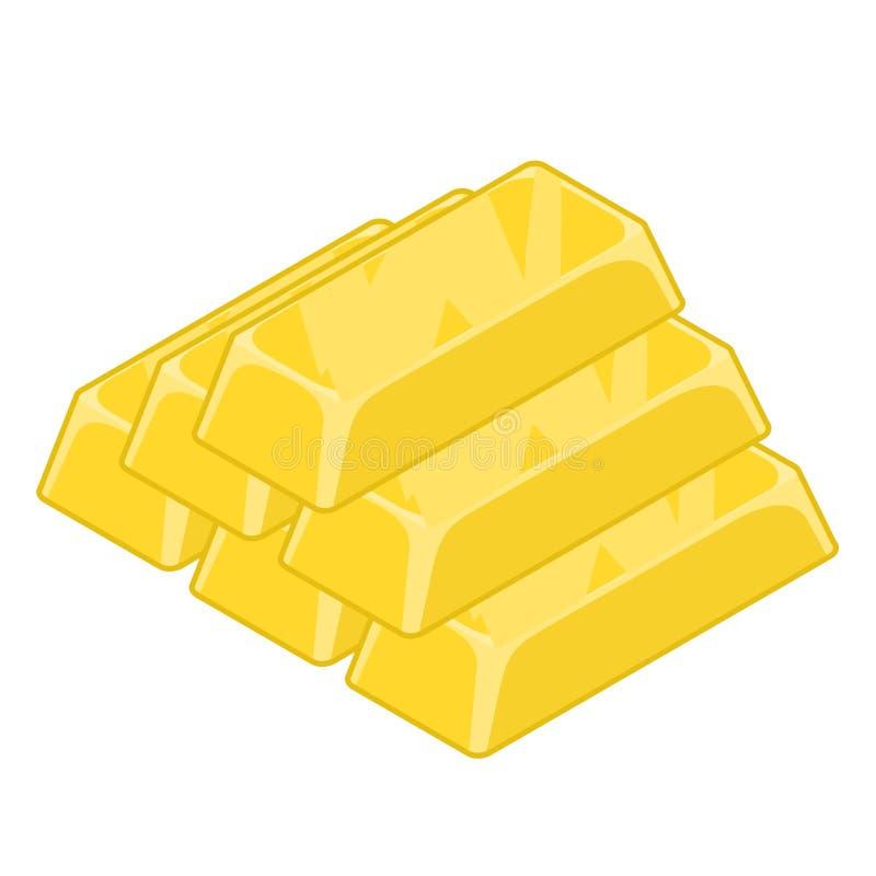 Πλίνθωμα του χρυσού που απομονώνεται Πετάξτε το πολύτιμο μέταλλο στο άσπρο υπόβαθρο διανυσματική απεικόνιση