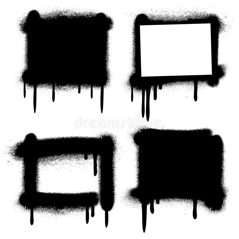 Πλαίσια γκράφιτι χρωμάτων ψεκασμού grunge, διάνυσμα εμβλημάτων διανυσματική απεικόνιση