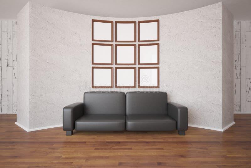 Πλαίσια εικόνων και καναπές διανυσματική απεικόνιση