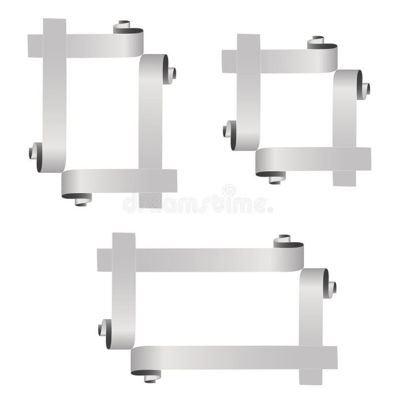 Πλαίσια που δημιουργούνται αρχικά από τις καμμμένες κορδέλλες Ασημένιο πλαίσιο φωτογραφιών τετραγώνων και ορθογωνίων στο άσπρο υπ απεικόνιση αποθεμάτων