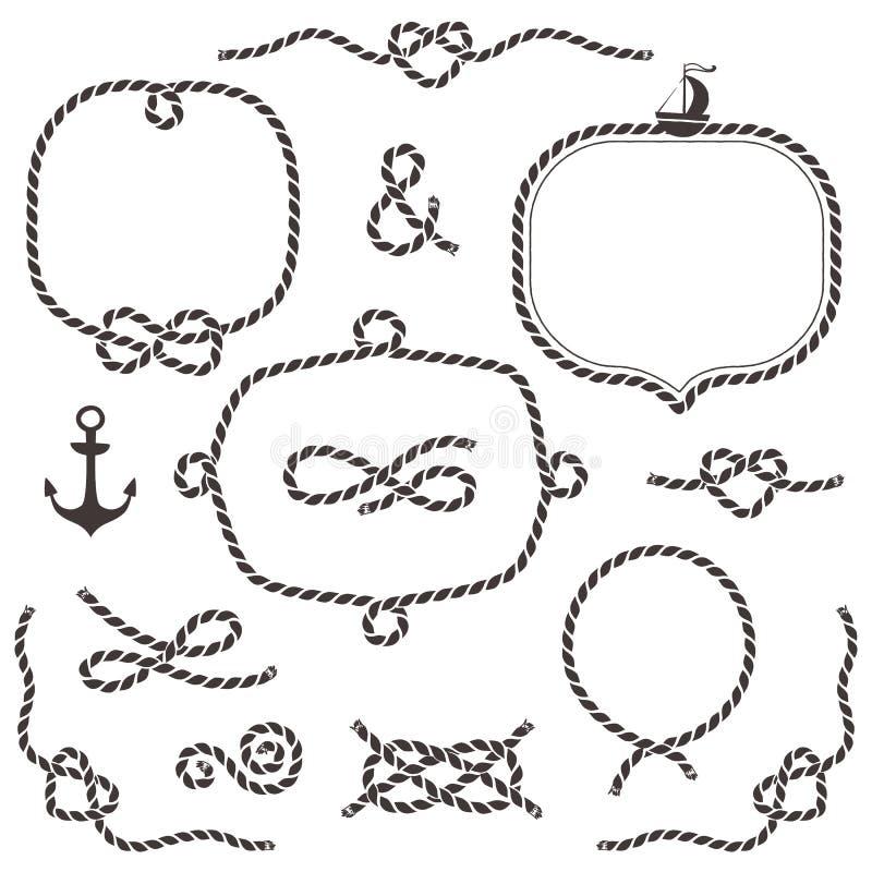 Πλαίσια σχοινιών, σύνορα, κόμβοι Συρμένα χέρι διακοσμητικά στοιχεία διανυσματική απεικόνιση