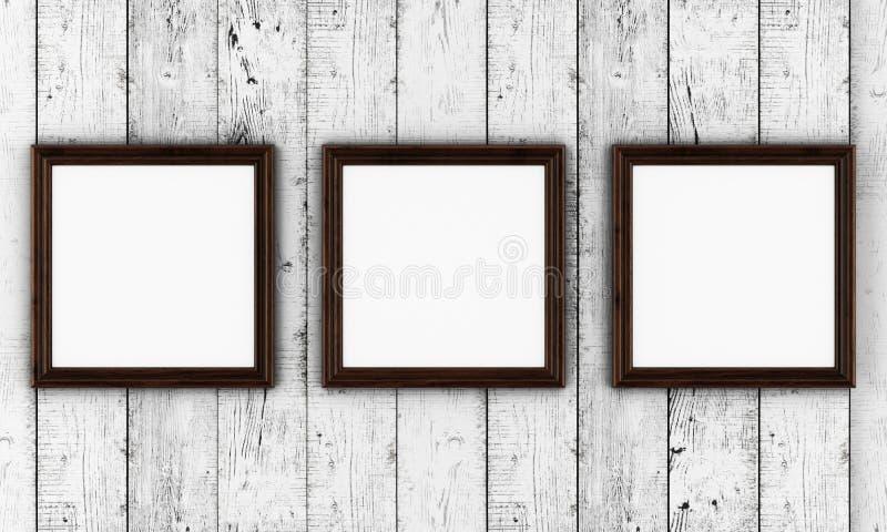 Πλαίσια φωτογραφιών στο ξύλινο υπόβαθρο απεικόνιση αποθεμάτων