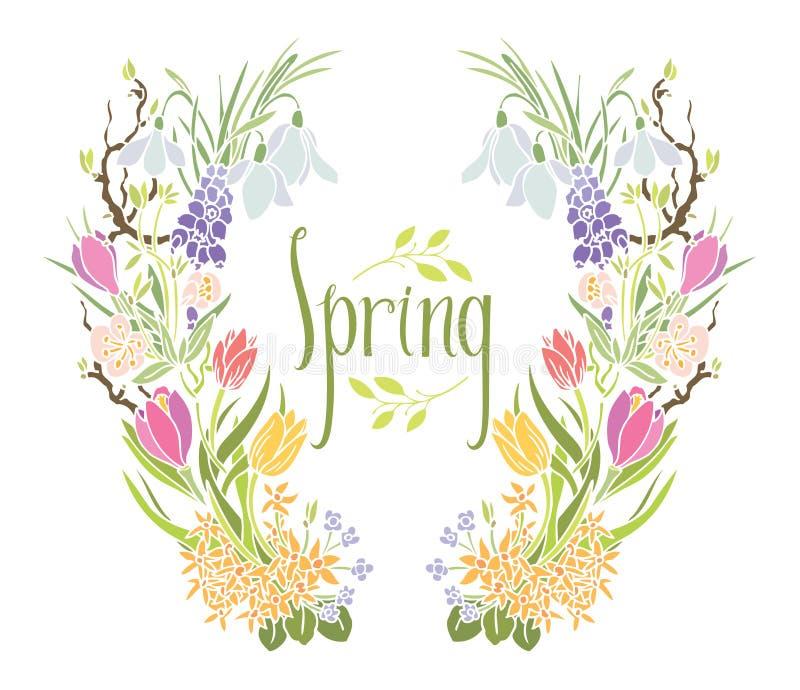 Πλαίσιο άνοιξη των λουλουδιών και των φύλλων απεικόνιση αποθεμάτων