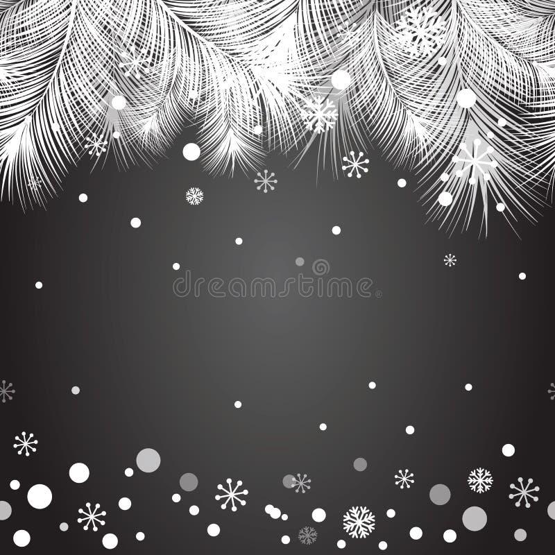 Πλαίσιο δέντρων γουνών Χριστουγέννων για το σχέδιο Χριστουγέννων με το χιόνι διανυσματική απεικόνιση