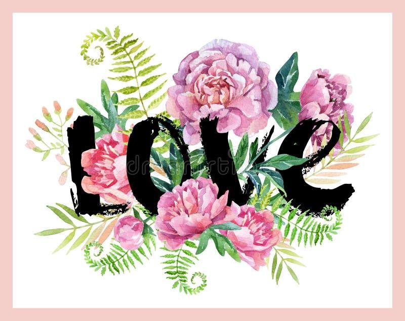 Πλαίσιο αγάπης Watercolor διανυσματική απεικόνιση