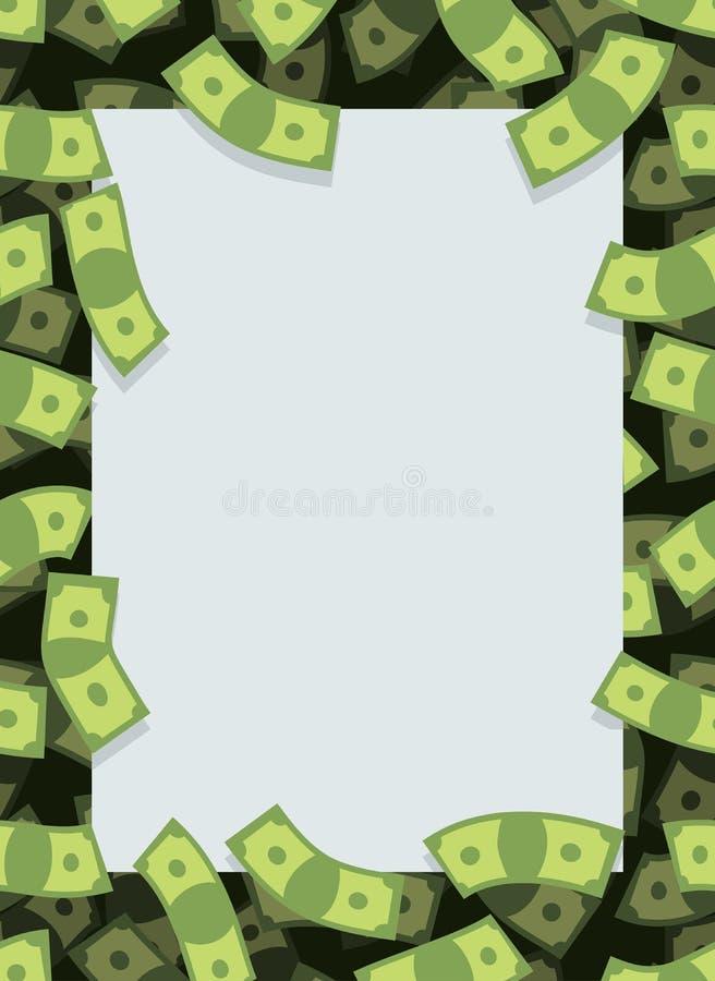 Πλαίσιο από τα χρήματα Πέταγμα πολλών δολαρίων Διάστημα για το κείμενο Μετρητά GR απεικόνιση αποθεμάτων