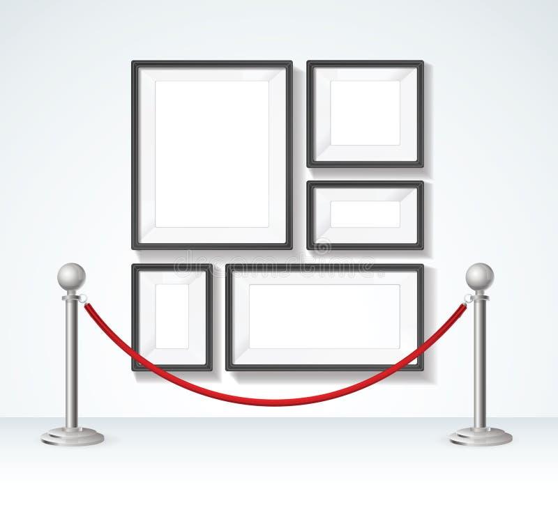 Πλαίσιο εικόνων και ασημένια στοιχεία κατασκευαστών εμποδίων σχοινιών διάνυσμα απεικόνιση αποθεμάτων