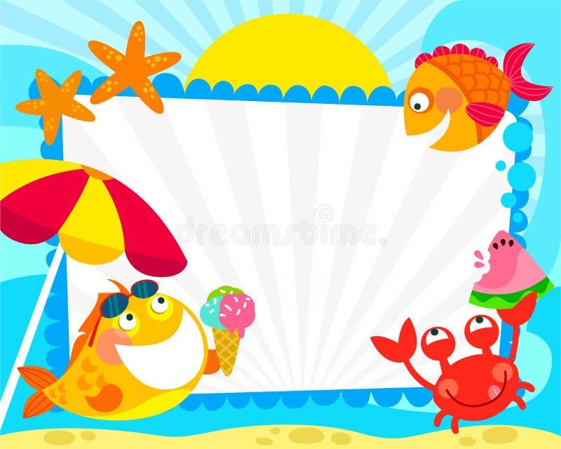 Πλαίσιο θερινών ψαριών διανυσματική απεικόνιση