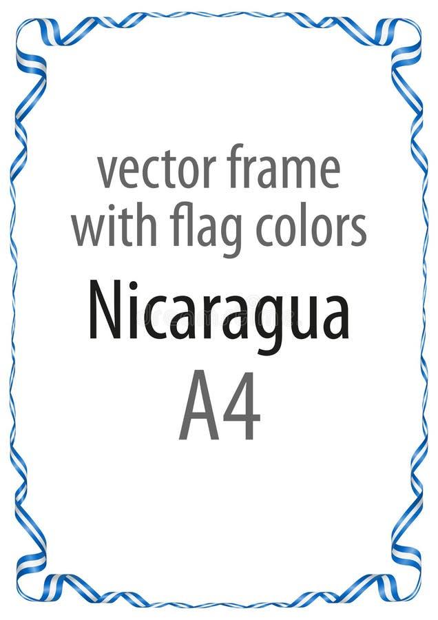 Πλαίσιο και σύνορα της κορδέλλας με τα χρώματα της σημαίας της Νικαράγουας στοκ φωτογραφία με δικαίωμα ελεύθερης χρήσης