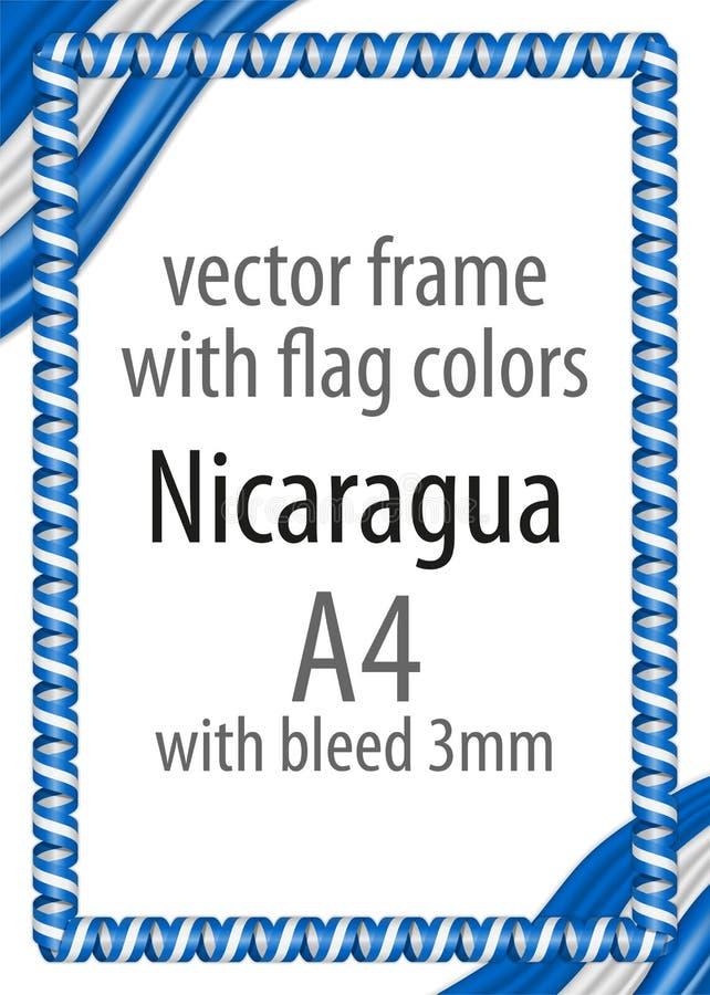 Πλαίσιο και σύνορα της κορδέλλας με τα χρώματα της σημαίας της Νικαράγουας στοκ φωτογραφίες
