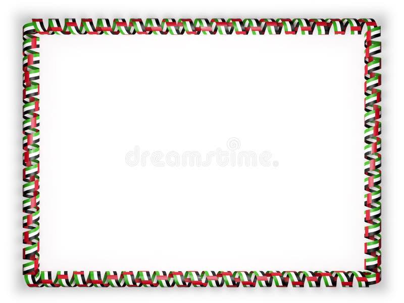 Πλαίσιο και σύνορα της κορδέλλας με τη σημαία των Ηνωμένων Αραβικών Εμιράτων τρισδιάστατη απεικόνιση στοκ εικόνες