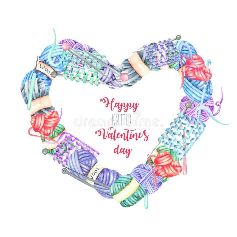 Πλαίσιο καρδιών με τα πλέκοντας στοιχεία watercolor: νήμα, πλέκοντας βελόνες και γάντζοι τσιγγελακιών ελεύθερη απεικόνιση δικαιώματος