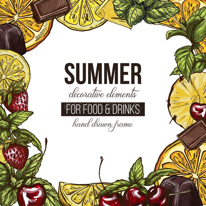 Πλαίσιο με τα διαφορετικά φρούτα και τα μούρα απεικόνιση αποθεμάτων
