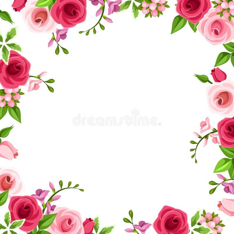 Πλαίσιο με τα κόκκινα και ρόδινα τριαντάφυλλα επίσης corel σύρετε το διάνυσμα απεικόνισης ελεύθερη απεικόνιση δικαιώματος