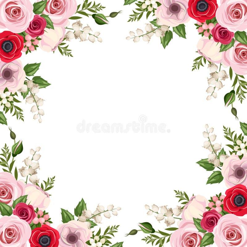 Πλαίσιο με τα κόκκινα και ρόδινα τριαντάφυλλα, τα λουλούδια lisianthus και anemone και τον κρίνο της κοιλάδας διάνυσμα ελεύθερη απεικόνιση δικαιώματος