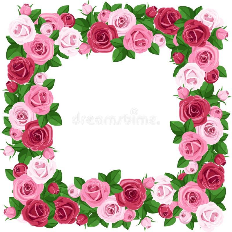 Πλαίσιο με τα κόκκινα και ρόδινα τριαντάφυλλα. απεικόνιση αποθεμάτων