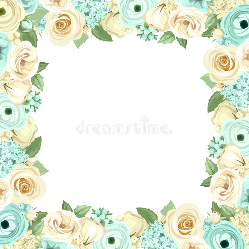 Πλαίσιο με τα μπλε και άσπρα λουλούδια επίσης corel σύρετε το διάνυσμα απεικόνισης ελεύθερη απεικόνιση δικαιώματος