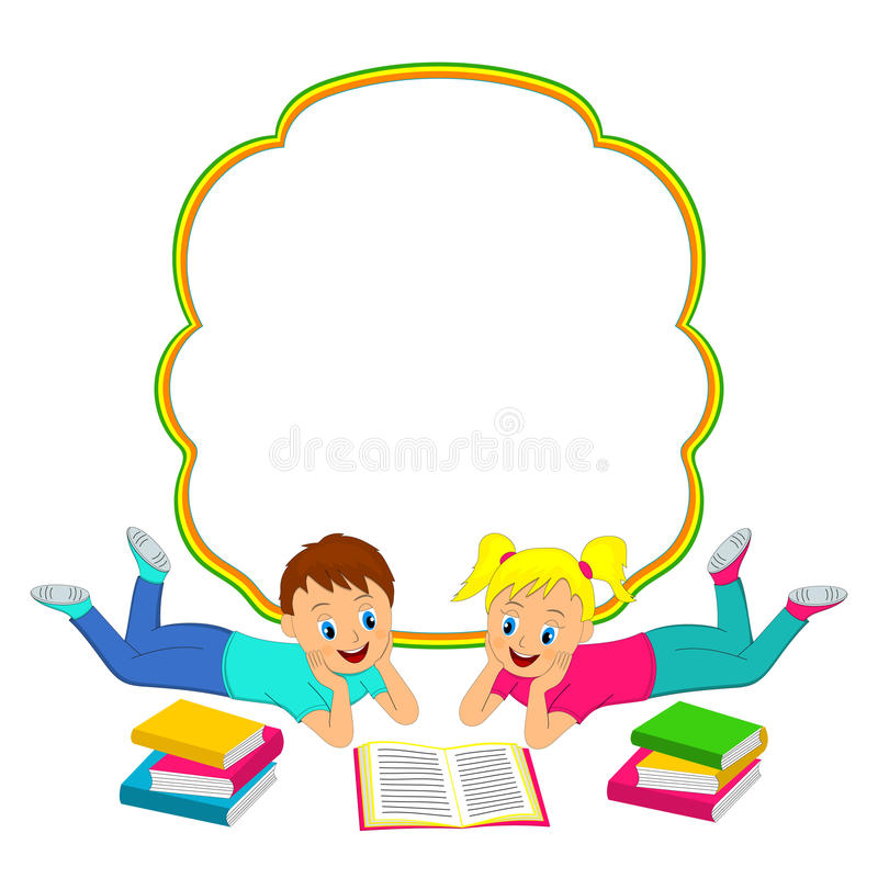 Πλαίσιο με τα παιδιά, το αγόρι και το κορίτσι που διαβάζουν ένα βιβλίο ελεύθερη απεικόνιση δικαιώματος