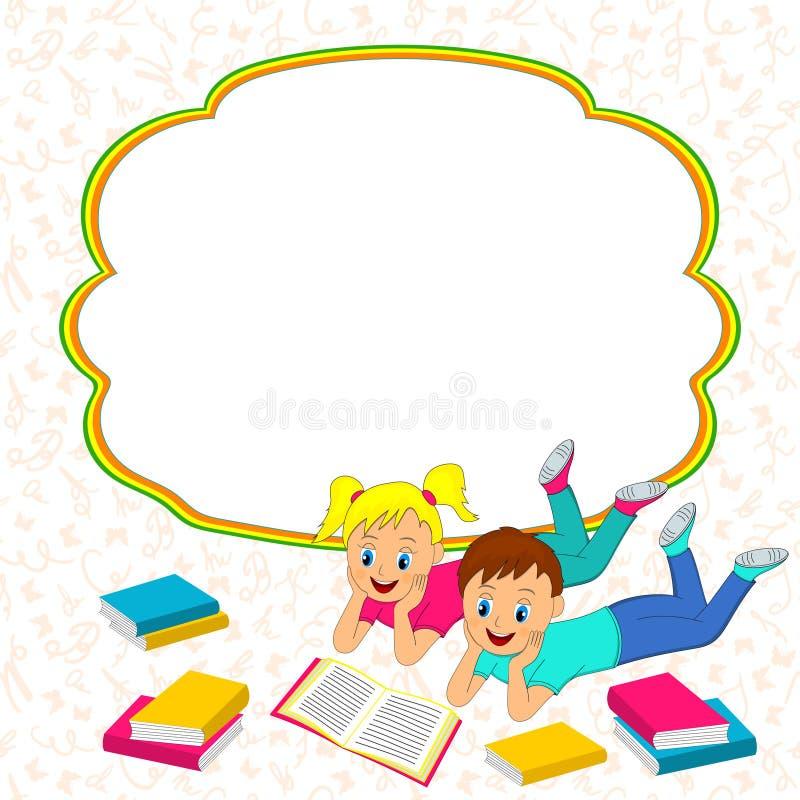 Πλαίσιο με τα παιδιά, το αγόρι και το κορίτσι που διαβάζουν ένα βιβλίο διανυσματική απεικόνιση