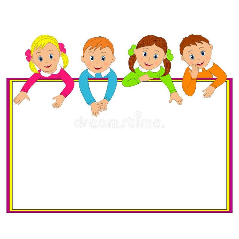 Πλαίσιο με τα παιδιά διανυσματική απεικόνιση