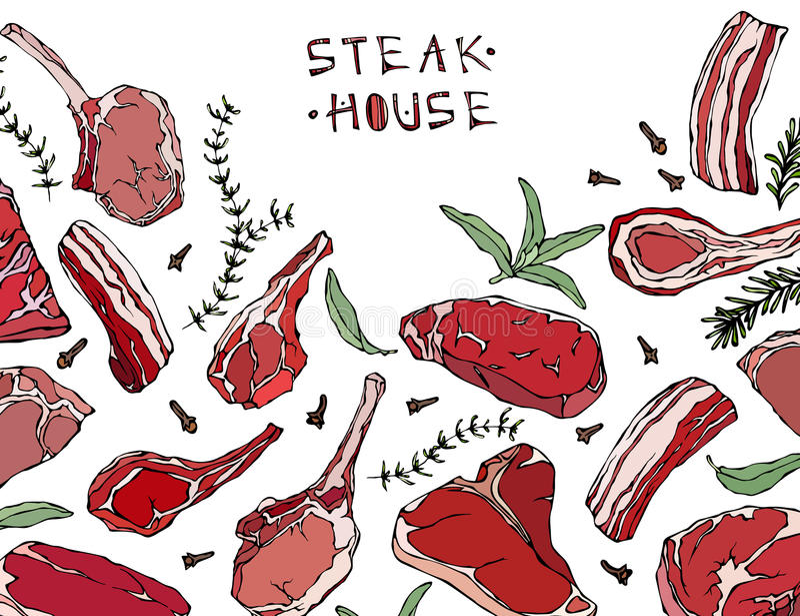 Πλαίσιο με τα προϊόντα κρέατος Επιλογές εστιατορίων ή πρότυπο καταστημάτων χασάπηδων Μπριζόλα βόειου κρέατος, αρνί, πλευρό χοιριν ελεύθερη απεικόνιση δικαιώματος