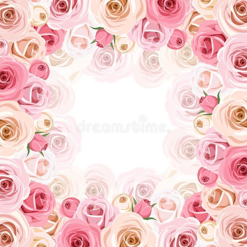 Πλαίσιο με τα ρόδινα και άσπρα τριαντάφυλλα Διάνυσμα eps-10 ελεύθερη απεικόνιση δικαιώματος