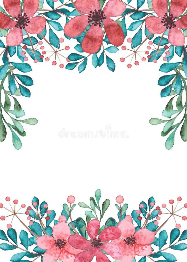 Πλαίσιο με τα ρόδινα λουλούδια Watercolor, τα μπλε και πράσινα φύλλα ελεύθερη απεικόνιση δικαιώματος