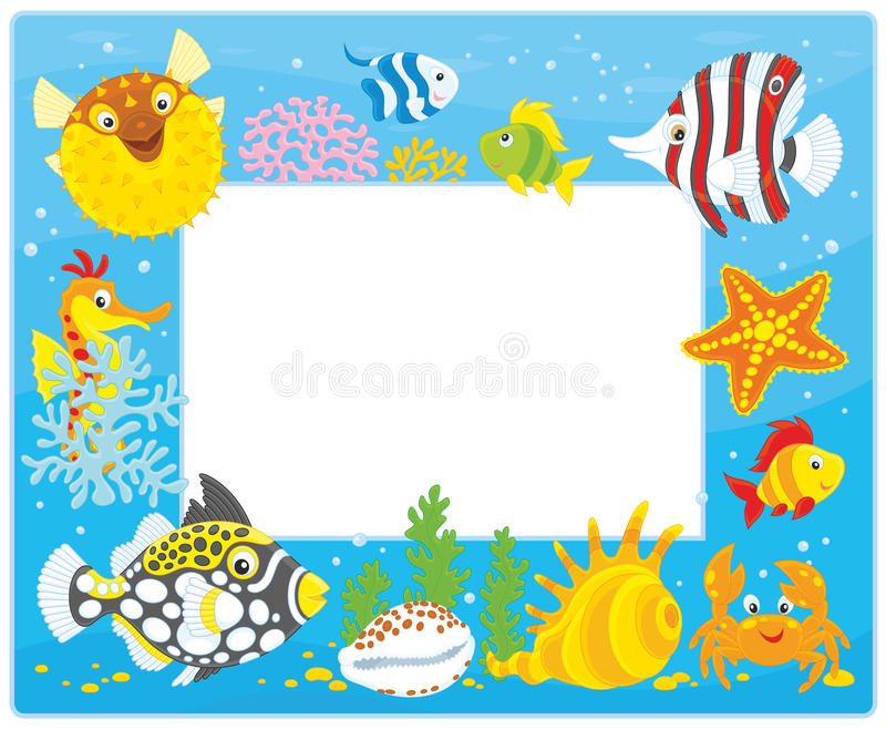 Πλαίσιο με τα τροπικά ψάρια διανυσματική απεικόνιση