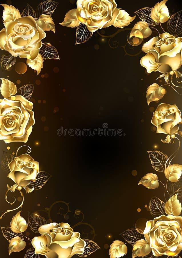 Πλαίσιο με τα χρυσά τριαντάφυλλα ελεύθερη απεικόνιση δικαιώματος